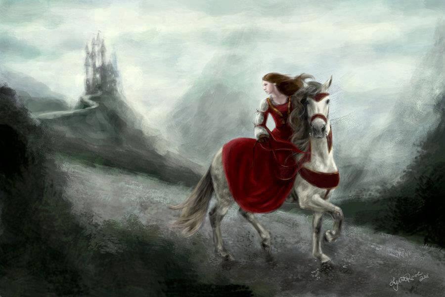 Mujer-montada-en-un-caballo-huyendo-de-la-tormenta