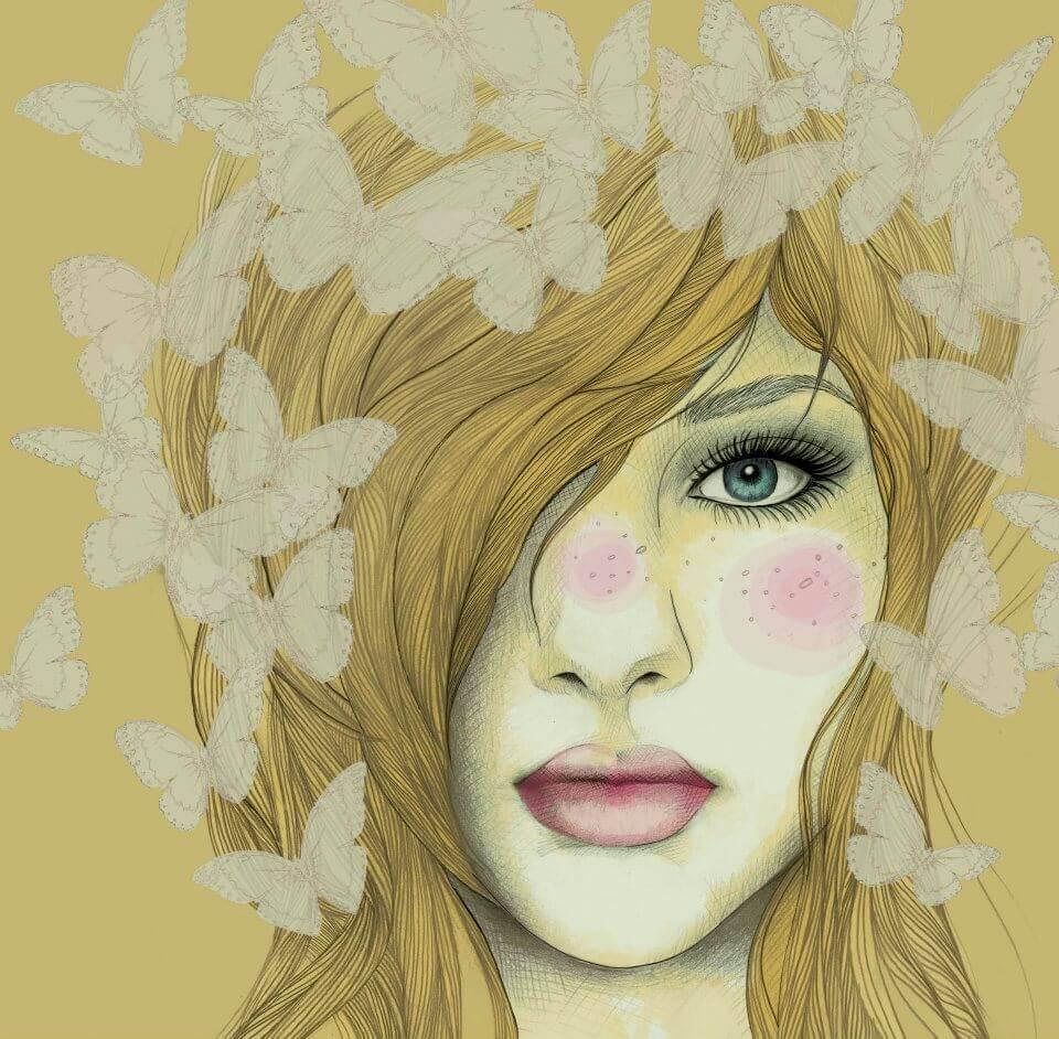 Mujer rubia con mariposas