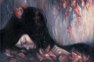 Mujer triste mirando boca abajo