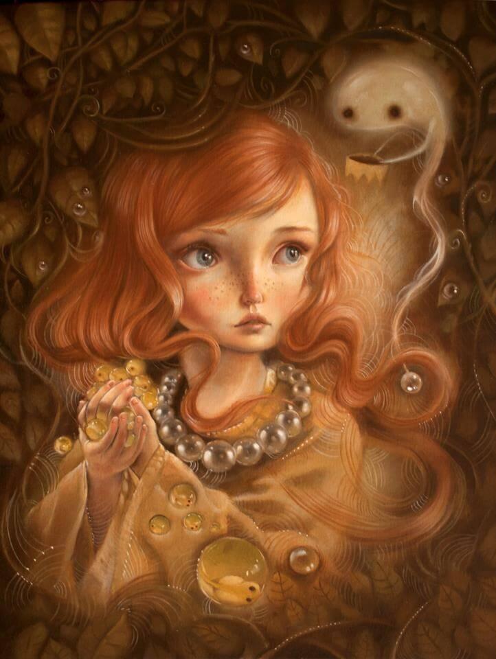 Mujer recogiendo burbujas