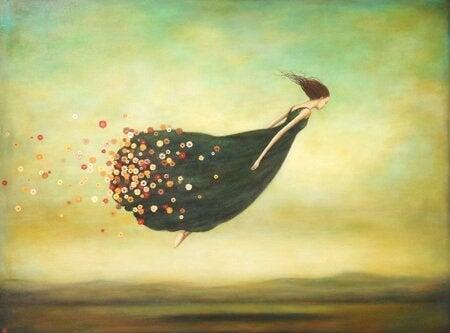 Mujer volando atrevida