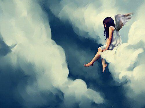 Niña triste sentada en una nube sin ganas de hacer nada