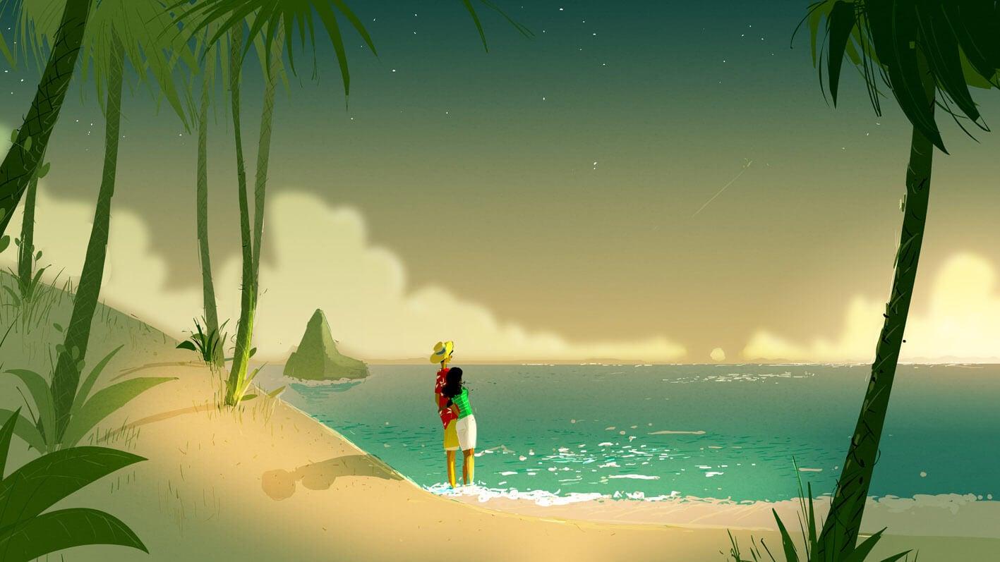 Pareja abrazada mirando al mar
