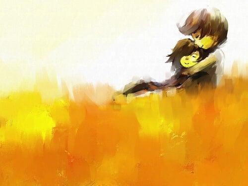 Pareja abrazándose