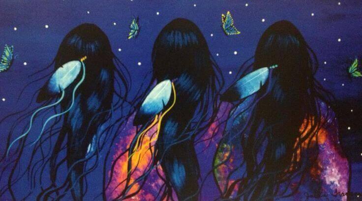 Tres mujeres de espaldas