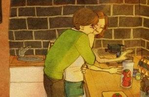 Abrazo en la cocina