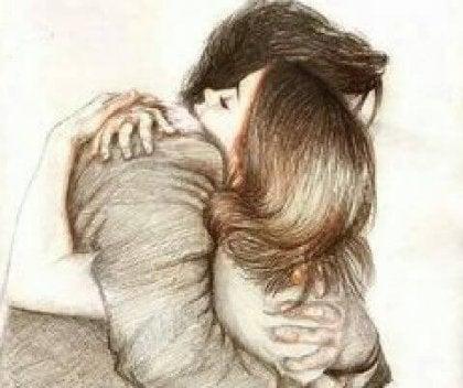 Abrazo hombre y mujer practicando el acto de consolar