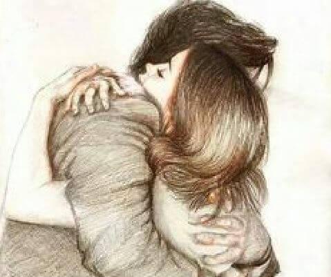 Abrazo hombre y mujer
