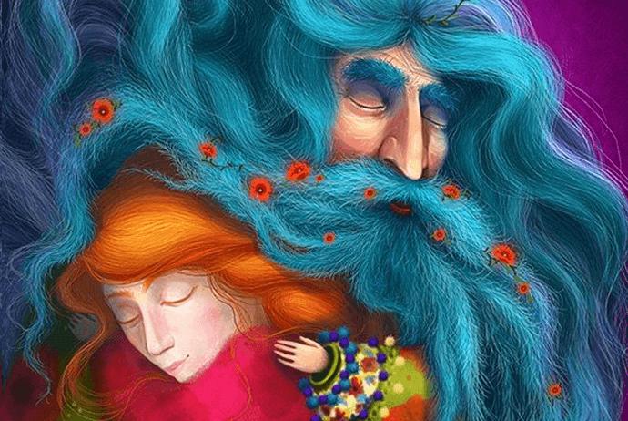 Abuelo y nieta abrazados
