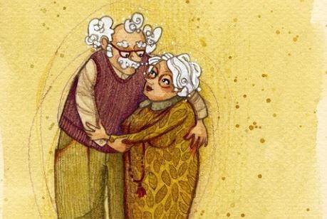 Abuelos abrazados mirándose a los ojos