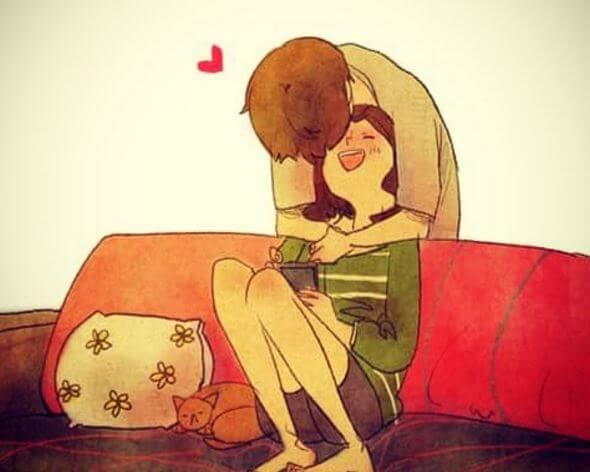 Chico dándole besos y abrazos a su novia como detalles