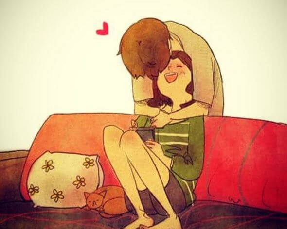 Besos inesperado pareja
