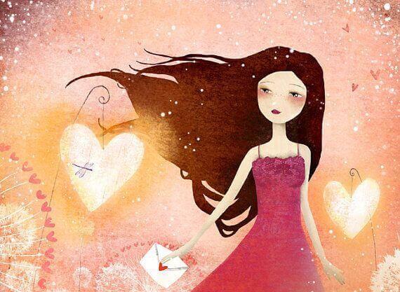 Chica con corazón sabiendo que todo es posible
