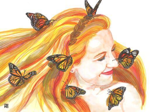 Ilustración de Natilles de una chica con mariposas