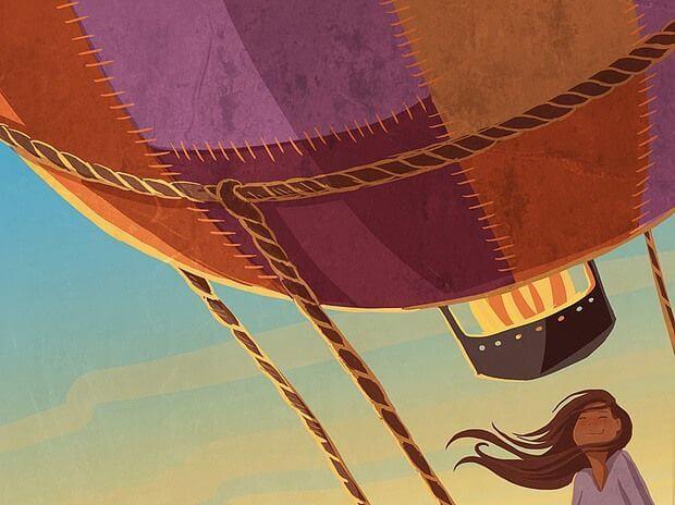 chica viajando en globo