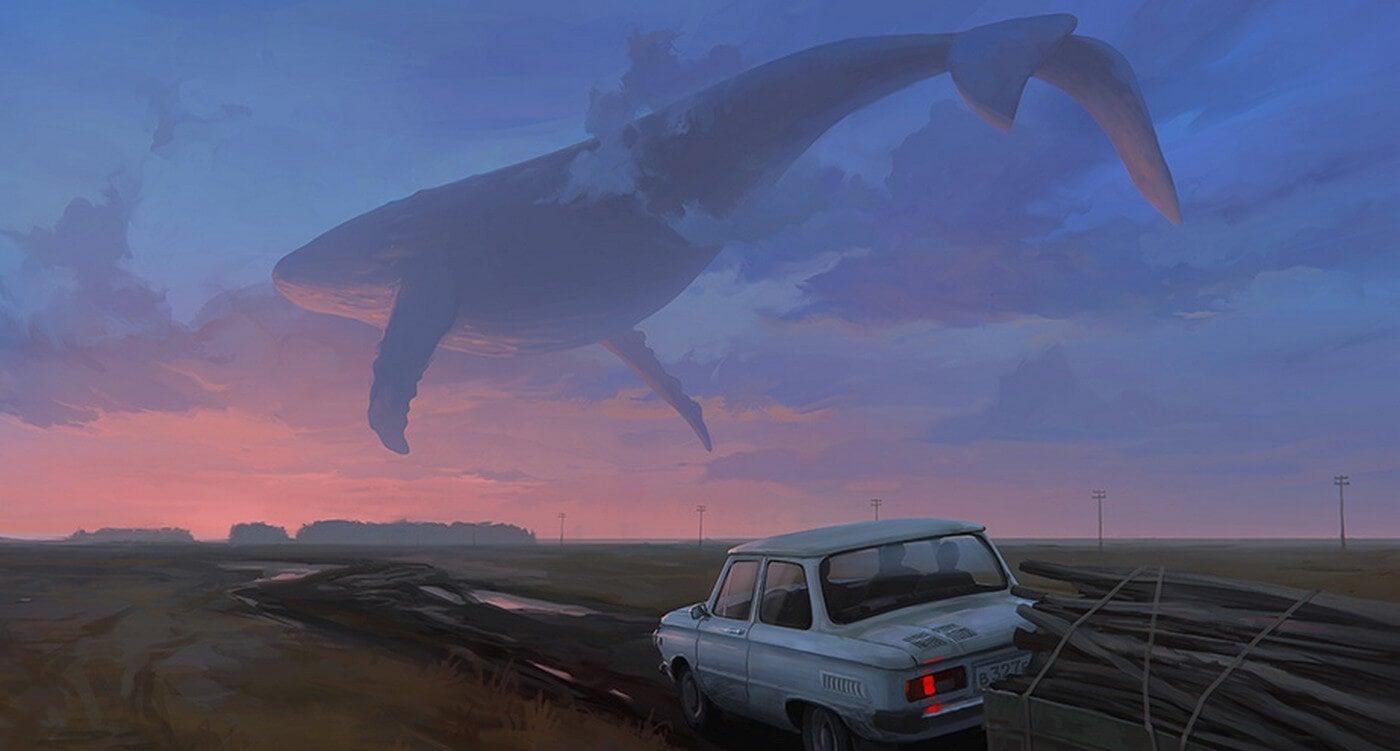 cielo con una ballena que se ausenta