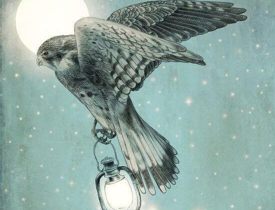 halcón sujetando lámpara