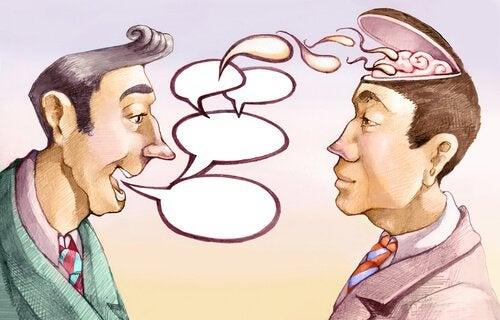 Hombre narcisista manipulando a otro mediante la palabra
