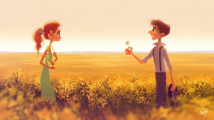 hombre ofreciendo flor a una chica simbolizando el cariñp que siempre permanece