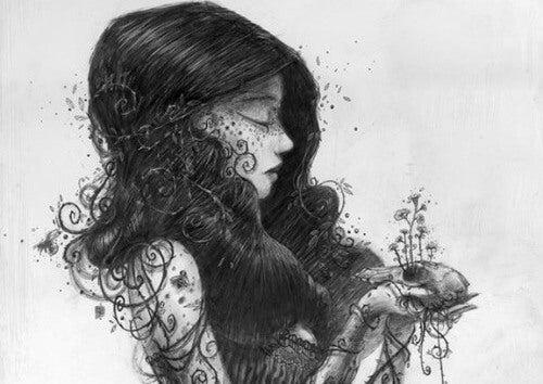 ilustración mujer blanco y negro