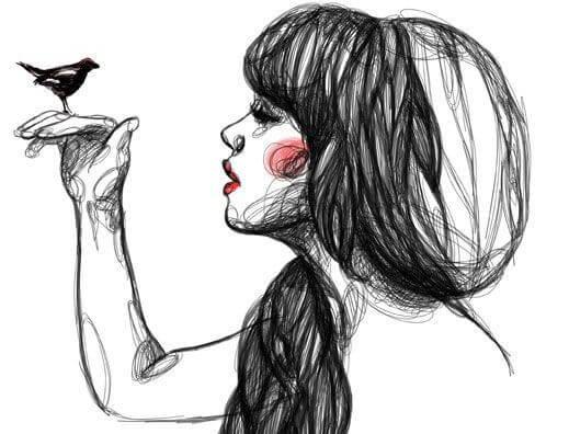 joven con pájaro en la mano