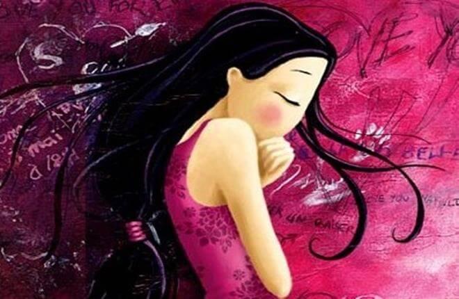 joven con vestido rosa encongida pensando en decir adiós a las comparaciones (Copy)