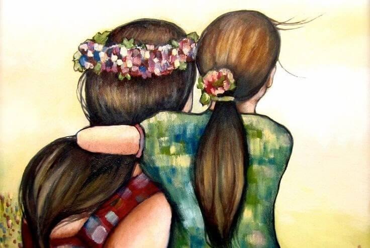 Madre abrazando a su hija por la espalda