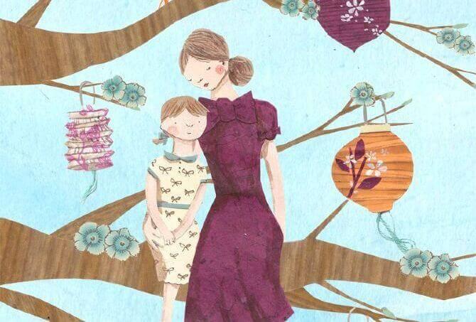 Madre en árbol con hija