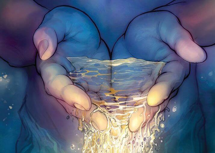 manos con agua brillante