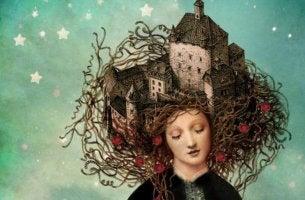 Mujer con castillos en la cabeza