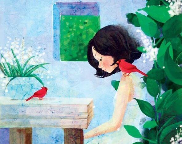 Mujer sentada con pájaro rojo en el hombro