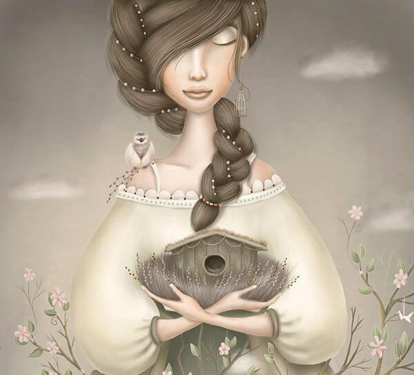 mujer con un pájaro en el hombro