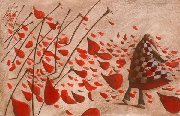mujer con vestido rojo