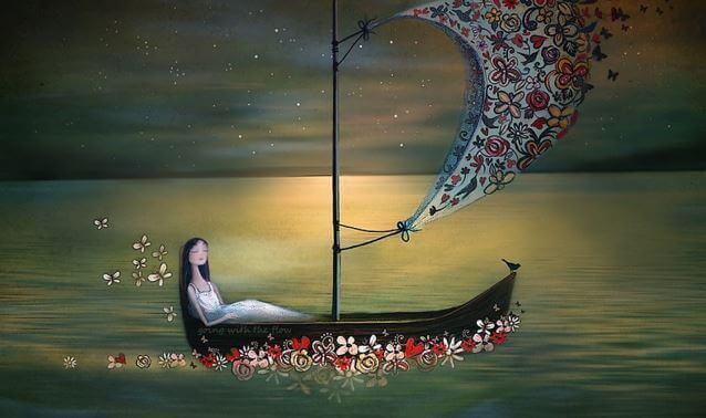 Mujer en una barca pensando todo pasa