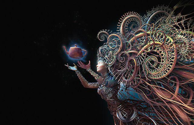mujer imagen fantasía con tetera en mano