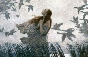 Mujer pájaros experimentando la decepción