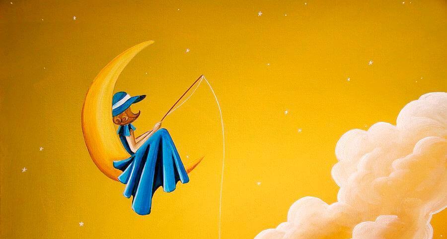 mujer pescando la luna sobre fondo amarillo representando el tiempo que esperé