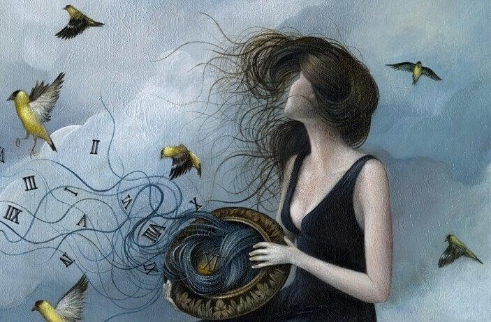 Mujer con viento