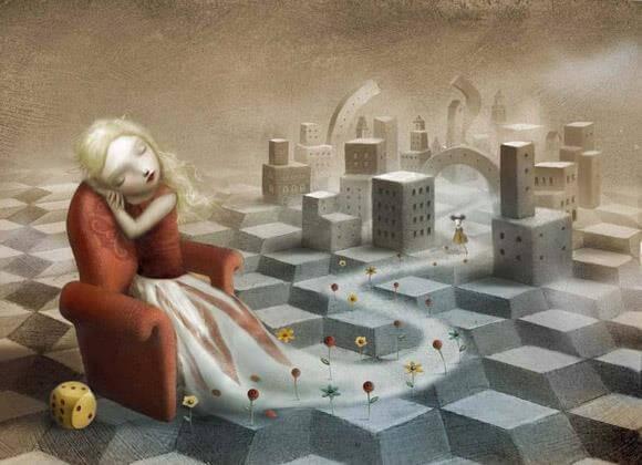 niña durmiendo en salón de juegos cuidando de que otros niños no se malcríen