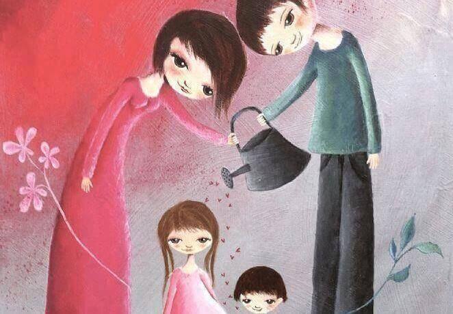 Niños felices padres regando