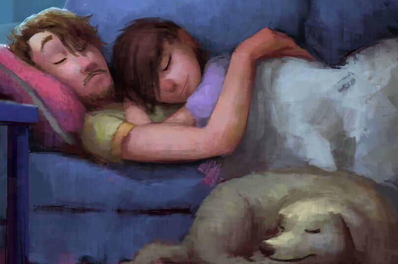 pareja abrazada en un sofá disfrutando de las cosas sencillas de la vida