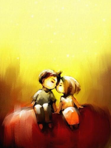 Pareja abrazada enamorada