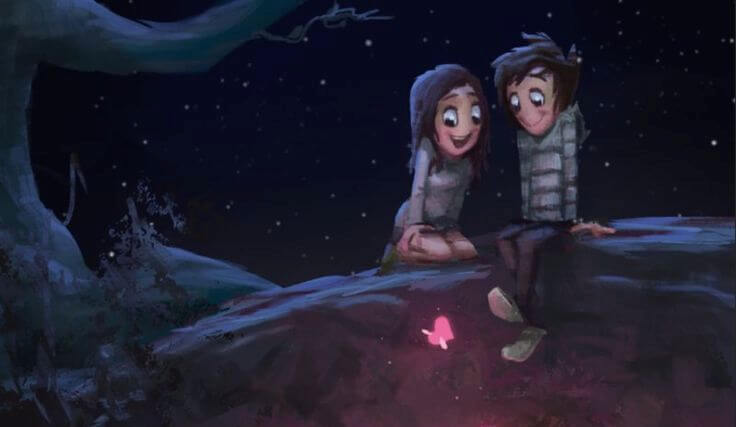 pareja feliz en un puente