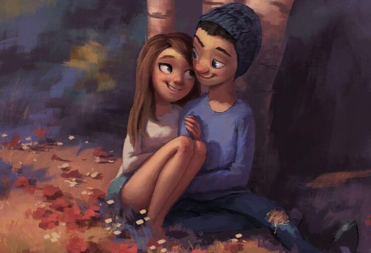 pareja joven feliz