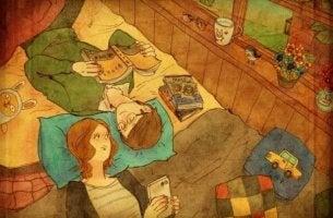 Pareja leyendo juntos en la cama