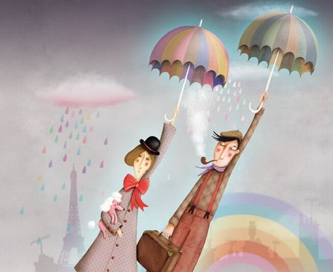 Pareja volando con paraguas