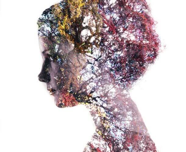 perfil femenino con naturaleza
