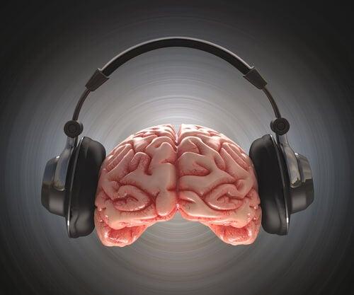 Cerebro con auriculares