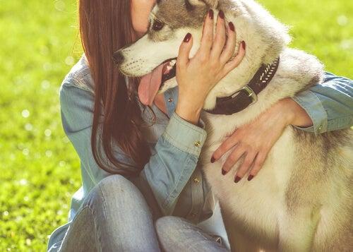Chica abrazado a su perro