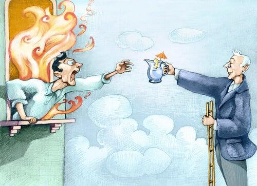Hombre ofreciendo una taza de té a otro mientas hay un incencio